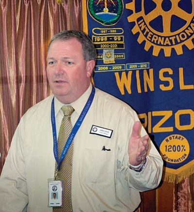 Navajo County Manager James Jayne speaks at a Winslow Rotary Club meeting July 2. Photo/Todd Roth