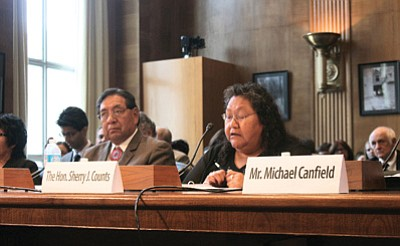 Hualapai Chairwoman Sherry Counts told a Senate committee that the northwestern Arizona tribe supports a bill that would formalize two water-rights agreements between it, Freeport Minerals Corp. and the government. Photo/Julianne DeFilippis