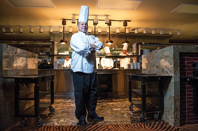 Executive Chef Hector Vasquez stands in the kitchen at Twin Arrows Navajo Casino Resort. AAA recently awarded Twin Arrows its coveted Four Diamond award. AAA inspectors evaluated the kitchen at Twin Arrows in addition to the other amenities the resort offers. Ryan Williams/NHO