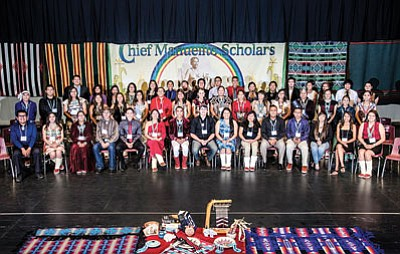 The 2014 Navajo Nation Chief Manuelito Scholars are honored at Pinon High School on July 18. Photo/Don James