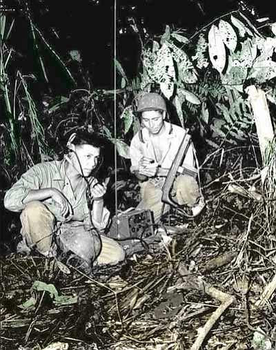 Cpl. Henry Bahe, Jr. and Pfc. George H. Kirk transmitting a radio message from Bougainville iin Dec. 1943. Submitted photo