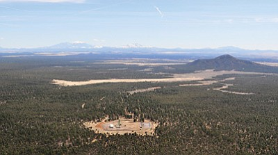 The Canyon Mine in the Kaibab National Forest south of the Grand Canyon, opened in the 1980s, is shown from the air. Photo by Tara Alatorre