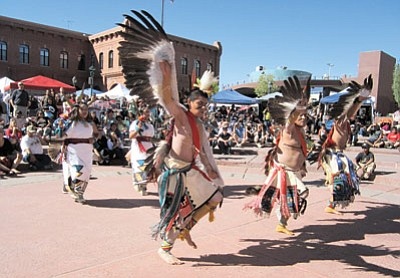 Dancers perform at last year's Hopi All Native Arts and Culture Festival in Heritage Square. The festival takes place in downtown Flagstaff Sept. 27-28. Katherine Locke/NHO