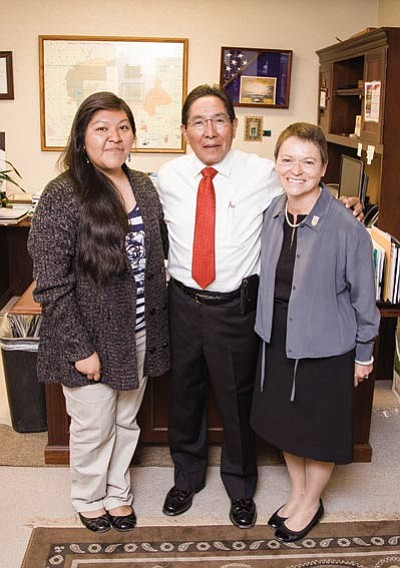 NAU student Genell Pooyouma stands with Hopi Tribal Chairman Herman Honanie and NAU President Rita Cheng in Honanie's office Oct. 8. Ryan Williams/NHO