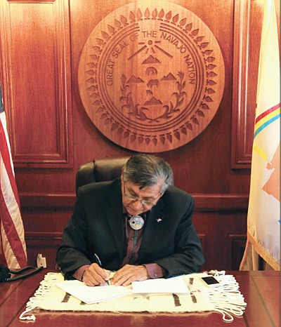 Navajo Nation President Ben Shelly vetoes Resolution No. CO-47-14 that would have changed the fluency requirement for Navajo Nation elected officials. Photo/Rick Abasta