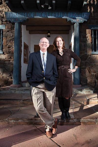 Retiring Museum of Northern Arizona Director and Chief Executive Officer Dr. Robert Bruenig (left) stands with his successor Carrie M. Heinonen outside the museum's front entrance. Photo/Ryan Williams