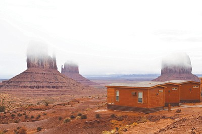 Fog covers the Mittens in front of the View Campground in Monument Valley Navajo Tribal Park. Submitted photo