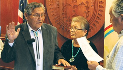 Navajo Nation President Ben Shelly takes the oath of office Jan. 13 in Window Rock. Photo/Rick Abasta
