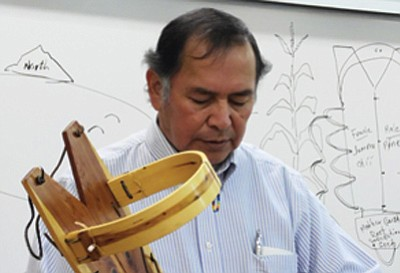 Peter Yazzie, a traditional Navajo cultural specialist, gives a lecture on the traditional Navajo cradleboard, how it was created and the purpose of swaddling a Navajo infant in a cradleboard to give the child a firm foundation in life. Photo//Rosanda Suetopka