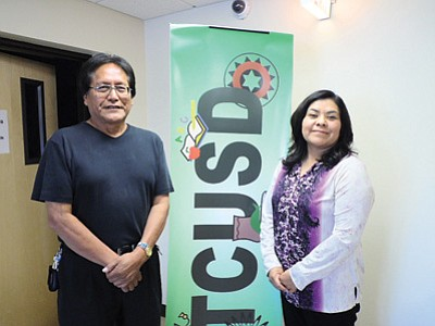 Dzil Libei Principal Dr. Melissa Bilagody (right) stands with Tuba City Unified School District Superintendent Dr. Harold G. Begay in the district offices in uptown Tuba City.  Photo/Rosanda Suetopka