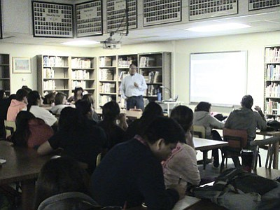 Fred Johnson, with the Navajo Nation Environmental Protection Agency, talks to students at Holbrook High School about water pollution. Submitted photo