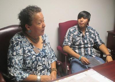 Hopi High video news student Star Not-Afraid interviews Arizona Rep. Jennifer Benally.  Photo/Stan Bindell