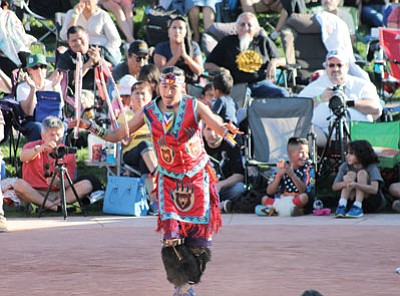 Nakota LaRance dances in the finals of the Adult Division of the 25th annual World Championship Hoop Dance competition in February. He eventually won the top prize. Katherine Locke/NHO