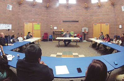 Navajo Nation President Ben Shelly voices his support for the Navajo Nation Head Start program during a March 18 meeting with representatives from the Navajo Nation Council, Head Start, Division of Social Services and the Child Care Development Fund. Photo/Rick Abasta