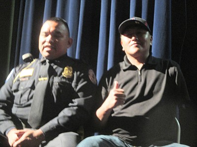 Hopi Police Officer Randall Begay and Shawn Namoki from The Hopi Foundation substance abuse prevention program talk to Hopi Jr./Sr. High school students about the dangers of alcohol and drug use. Photo/Stan Bindell