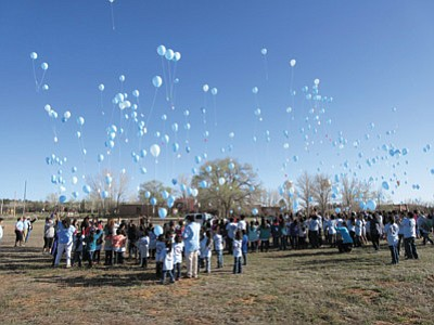 Students at Shonto Prep release ballons as part of an anti-bullying week. Submitted photo