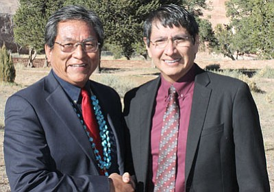 Russelle Begaye (left) and his running mate Jonathan Nez (right) won the Navajo Nation Presidential election April 21. Submitted photo