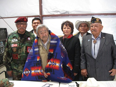 From left: Leslie Dele, Richard George, Richard George, Eunice Begay, Gilbert Chee and Harold Dayzie Sr. Photo/Tyler Tawahongva
