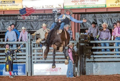 Delvecchio Kaye (Navajo) competes in a recent rodeo. Kaye tries to balance his studies with becoming a rising star in the national collegiate rodeo arena. Submitted photo