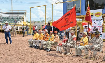 Speaker LoRenzo Bates pays tribute to Navajo Code Talkers at the 29th Annual Navajo Nation Fourth of July Celebration in Window Rock on July 4. Photo/Rick Abasta