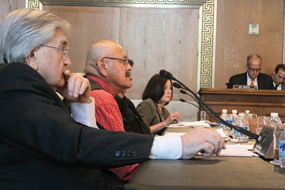 Acting Indian Health Service Director Robert McSwain, Oglala Sioux Councill member CJ Clifford and Stanford University Professor Teresa LaFromboise, from left, testify on the tribal teen suicides.  Photo/Aubrey Rumore