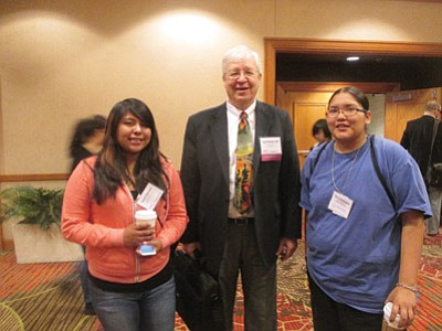 Tierra Lomabalaquihoya (right) with Colorado JEA President Jack Kennedy and Katrice Puhuhefvaya. File photo