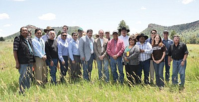 Speaker LoRenzo Bates with federal officials and tribes from the Bears Ears Coalition at Bears Ears July 17. Submitted photo