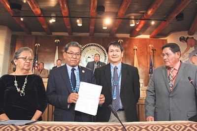 Navajo Nation President Russell Begaye and Vice President Jonathan Nez signed the branch chief agreement before the start of the summer session with Chief Justice Eleanor Shirley and Speaker LoRenzo Bates on July 20. Photo/Rick Abasta