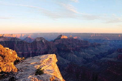 The sun sets over Bright Angel Point on the North Rim of the Grand Canyon. Loretta Yerian/NHO