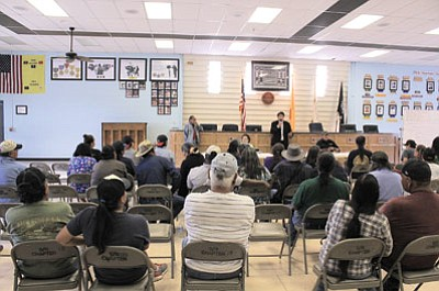 Aug. 8 President Russell Begaye and Vice President Jonathan Nez encourage the public at the Shiprock Chapter to remain safe and stay away from the San Juan River as contamination nears. Begaye said the Nation will pursue legal action. Photos/Rick Abasta