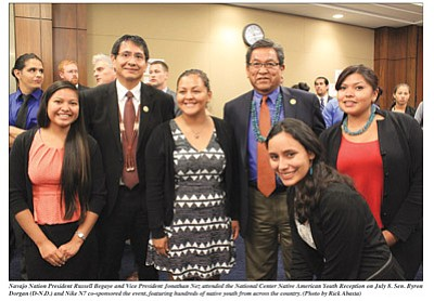 Navajo Nation President Russell Begaye (right) and Vice President Jonathan Nez attend the National Center Native American Youth Reception on July 8. Photos/Rick Abasta