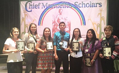 Nine 2015 Navajo Nation graduates from Tuba City High School earned the prestigious Chief Manuelito Scholarship in July. Pictured: Christian Begody, Shawndeena George, Jazmin Greyeyes, Brianna Henderson, Kristen Henderson, Tate Tsingine and Darshina Yazzie. Not pictured:  Alonzo Wauneka and Kyra Kaya. Photo/Rosanda Suetopka