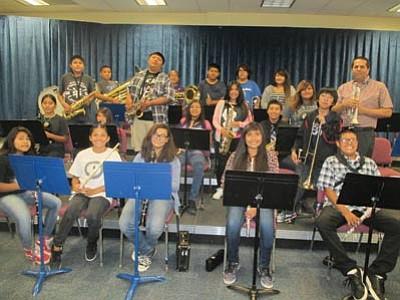 Hopi Jr./Sr. High school music teacher Joel Dodd with his junior high band class. Stan Bindell/NHO