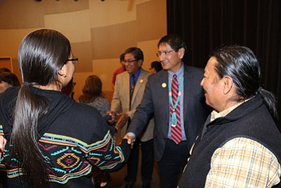 Navajo Nation President Russell Begaye and Vice President Jonathan Nez meet with students and NAU faculty and staff at the Native American Cultural Center in Flagstaff Oct. 11. Photo/Mihio Manus