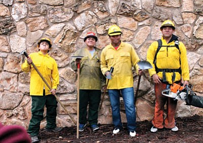 Students strike a pose after trying on Wildland Fire gear provided by Grand Canyon National Park during career day Oct. 6. Loretta Yerian/WGCN