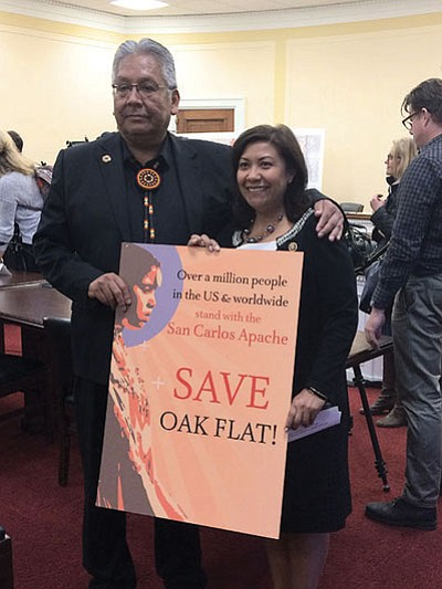 San Carlos Apache Chairman Terry Rambler with Rep. Norma Torres, D-Calif., after a forum in which Rambler and others said spiritual issues outweigh economic gains from a mine at Oak Flat. Charles McConnell/Cronkite News