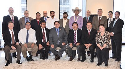 Navajo Nation Council members and officials with KeyBanc Capital Markets in New York City.  Courtesy photo