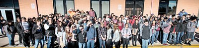 Winslow High School students prepare to collect food during the annual Winslow food drive. Photo/Todd Roth