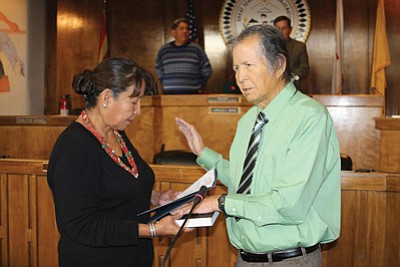 Former Navajo Nation Tribal Chairman Leonard Haskie is sworn in as a council delegate. Submitted photo