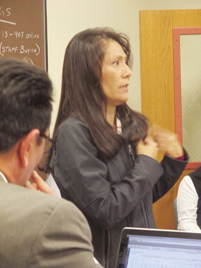Charlene Youvella submitted petitions to the Hopi Jr./Sr. High Schol Governing Board. Photo/Stan Bindell