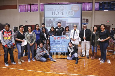 Vice President Jonathan Nez stands with students from Ganado as part of the Building Communities of Hope tour that is visiting schools and communities throughout the Navajo Nation. Submitted photo