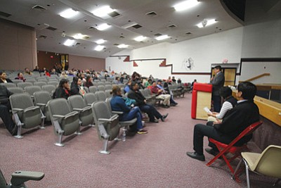 Community members at Monument Valley High School take part in the Building Communities of Hope suicide awareness tour Dec. 16. Submitted photo