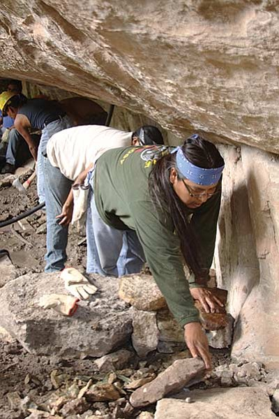 A Hopi tribe member builds water catchment at Castle Springs. USFS, Southwestern Region, Kaibab National Forest. Photo/David Hercher