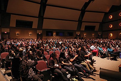 Students at Pinon High School listen to comedian Pax Harvey during a Feb. 18 Building Communities of Hope suicide prevention event. Submitted photo