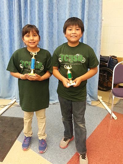 Kasia Yazzie, third grade, is the grand champion for the Math League competition in Tuba City last week and now will represent Eagles Nest Intermediate at the state finals in Tucson along with Noah Smith, fifth grade, who placed fifth  in his grade level. Photo/Rosanda Suetopka