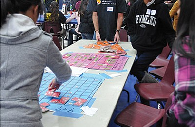 Navajo Nation elementary students engage in a math game. Submitted photo