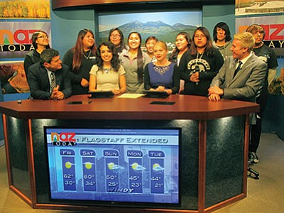 Hopi High media students join the NAZ TV crew on the air. Stan Bindell/NHO