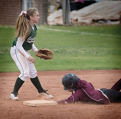 Greenway keeps Lady Bulldogs baserunners on their toes April 16. Todd Roth/NHO