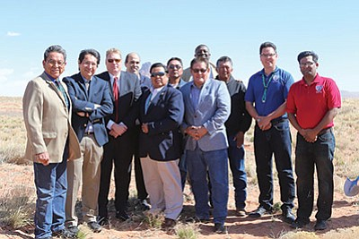 From left: Navajo Nation President Russell Begaye, Navajo Nation Vice President Jonathan Nez, NTUA General Manager Walter Haase, NYUA Board Chairman Sidney Bobdietz, Chairman Alton Joe Shepherd, Council Speaker LoRenzo Bates and other officials attend a groundbreaking for a Kayenta solar power facility. Submitted photo