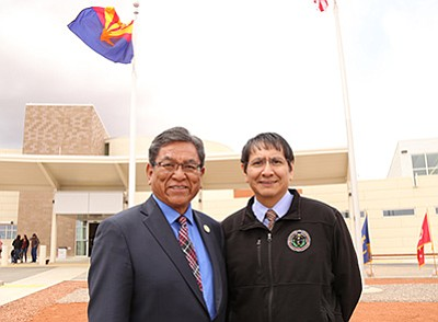 Navajo Nation President Russell Begaye and Vice President Jonathan Nez attende the dedication of the Kayenta Health Center and Alternative Rural Hospital April 27. Begaye said the newly opened Kayenta facility is only a start when it comes to health care on the Navajo Nation. Submitted photo